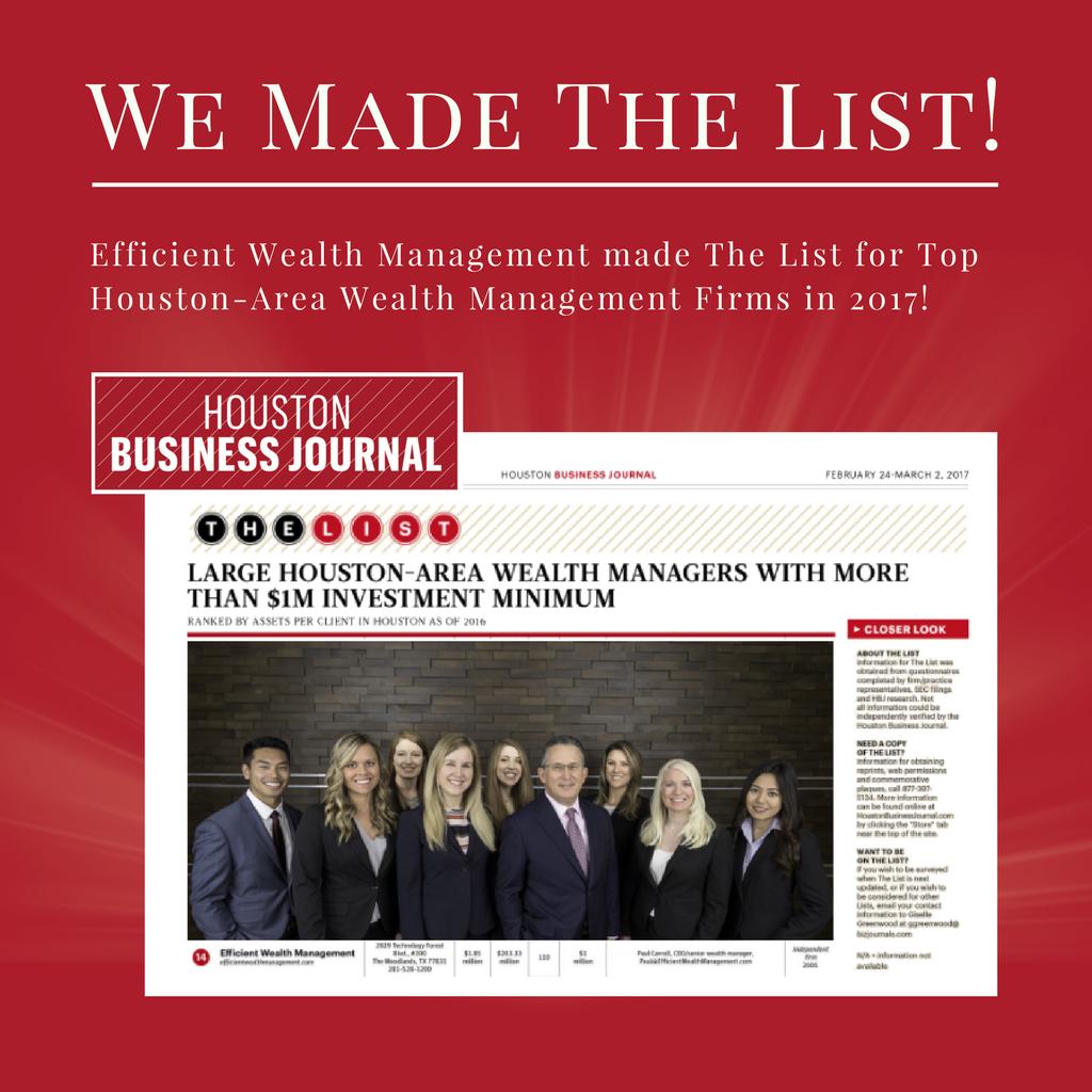 Efficient Wealth Management Houston Business Journal Top Wealth Management Firm